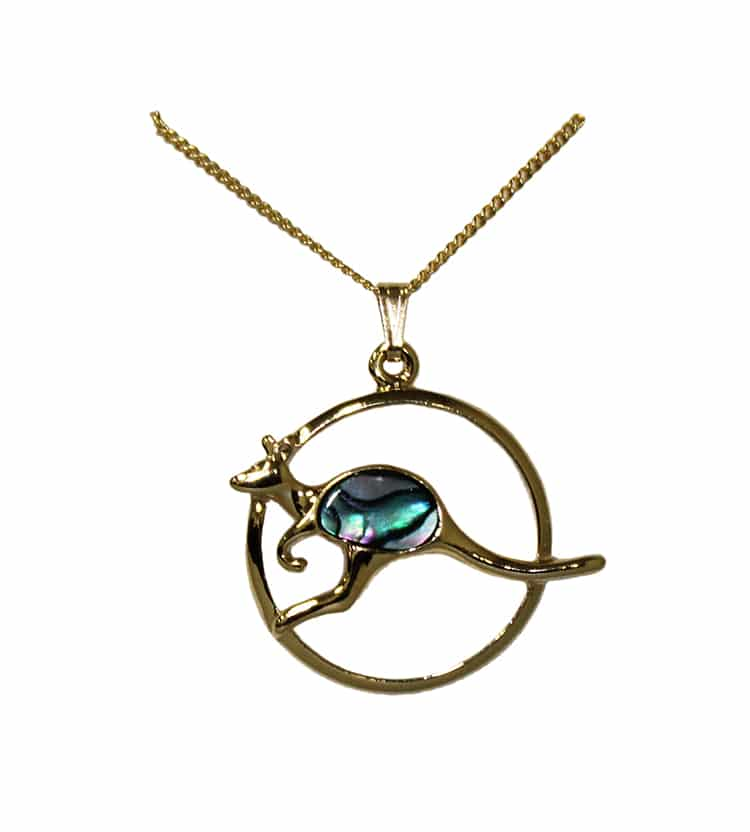 Gp805 Gold Paua Shell Pendant Necklace Australia The Gift Australia The Gift Souvenirs T