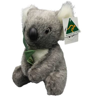 Koala With Leaf Aus Made 20cm