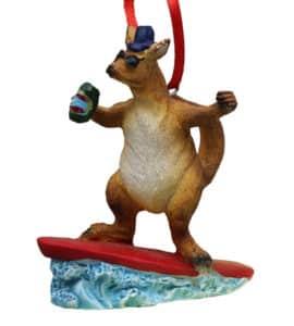 Surfing Kangaroo Christmas Ornament
