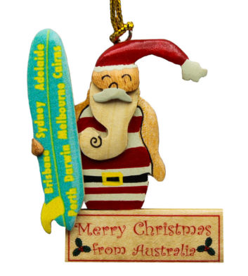 Surfing Santa Christmas Decoration