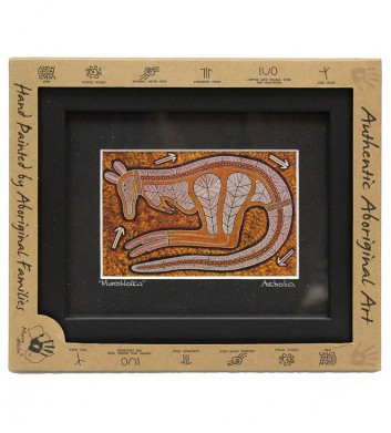 70389_GUNGURRU'-KANGAROO-SITTING-FRAMED-ART