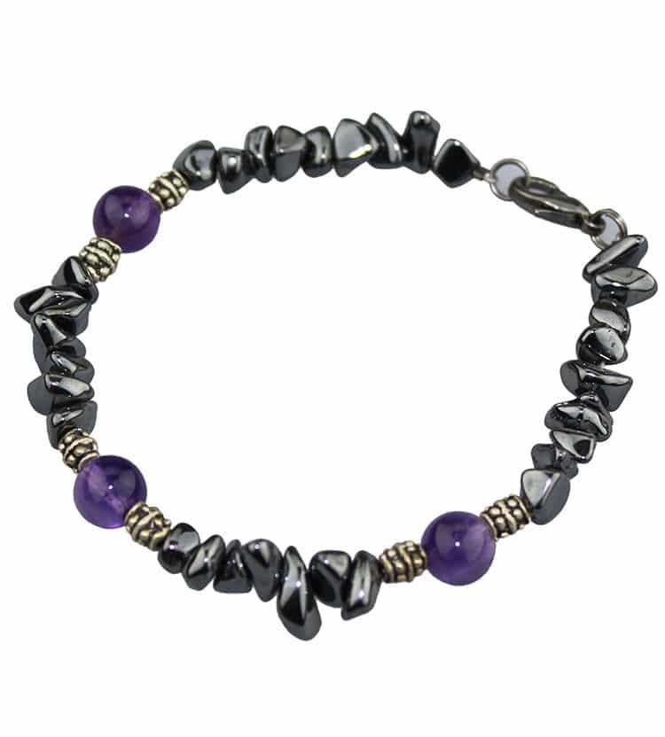 Iron Ore & Amethyst Bracelet