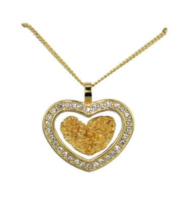Gold & Glass Diamante Heart Necklace