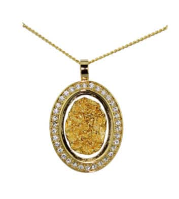 Gold & Glass Diamante Oval Necklace