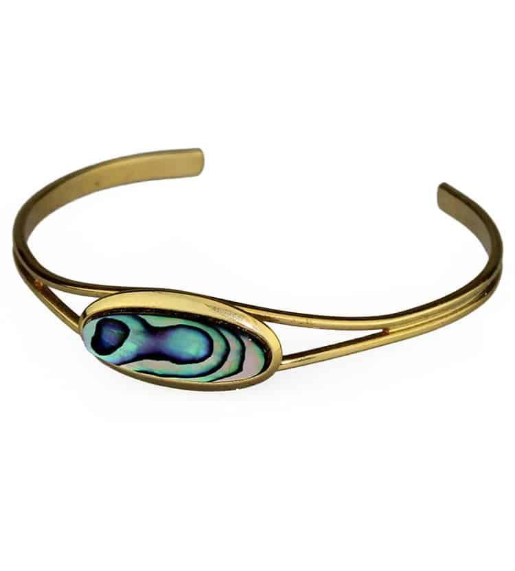Gold Paua Shell Bangle