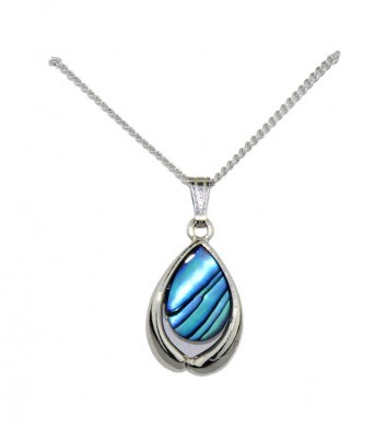 Palladium Paua Shell Pendant Necklace