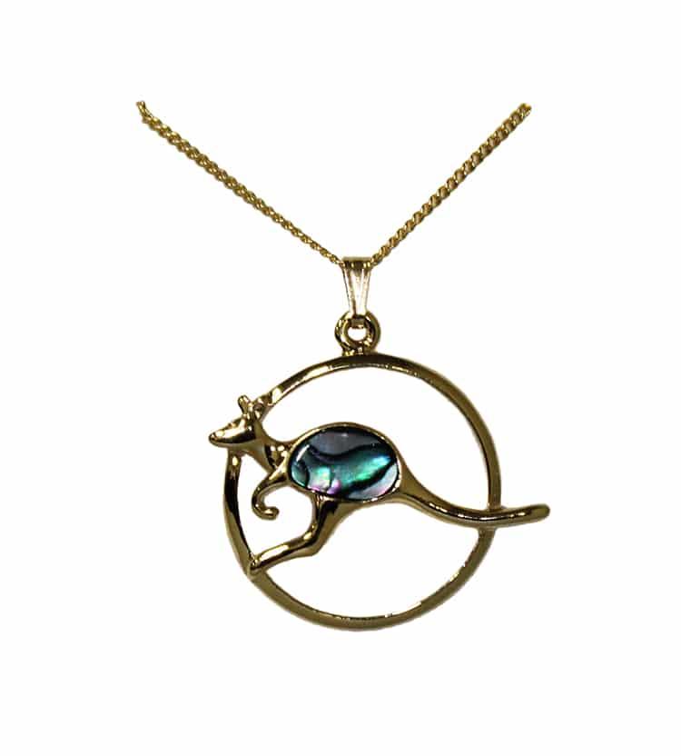 Gold Paua Shell Kangaroo Necklace Australia The Gift