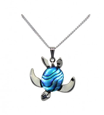 Paua shell turtle necklace