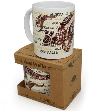 white dot art kangaroo mug