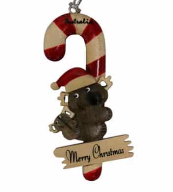 Koala Candy Cane Christmas Decoration