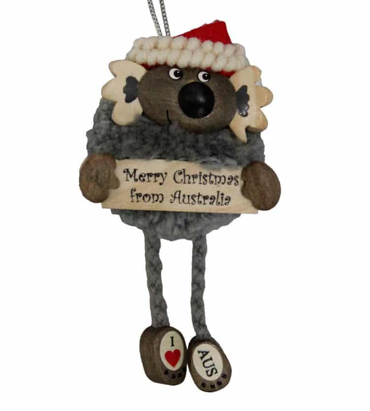 Pom Pom Koala Christmas Ornament