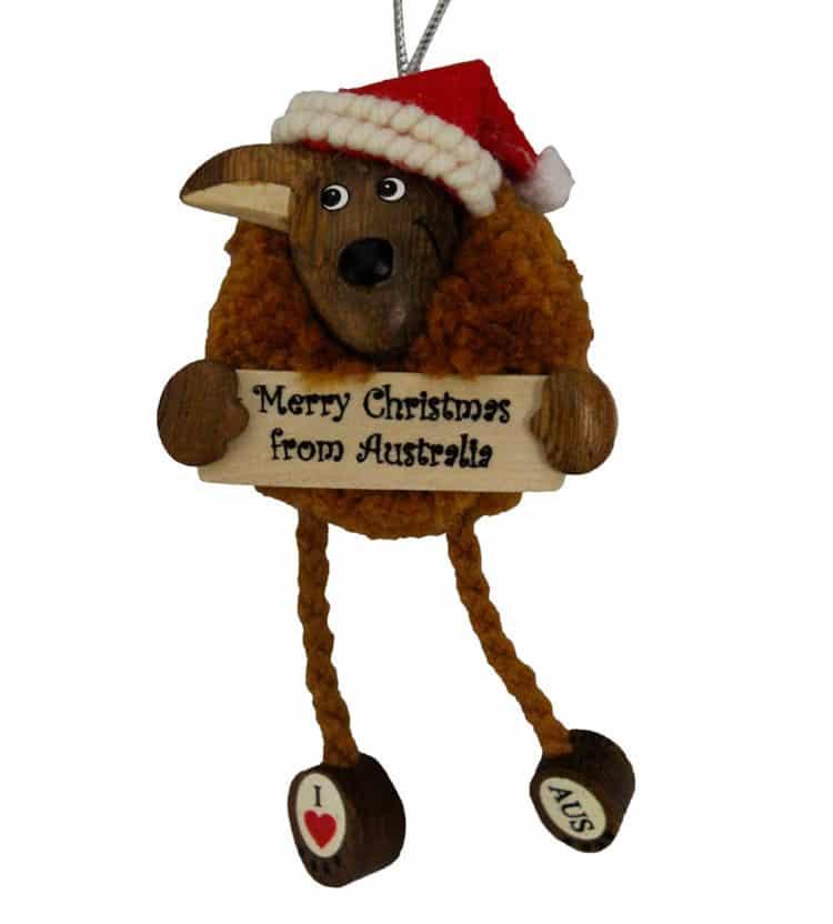 Pom Pom Kangaroo Christmas Ornament