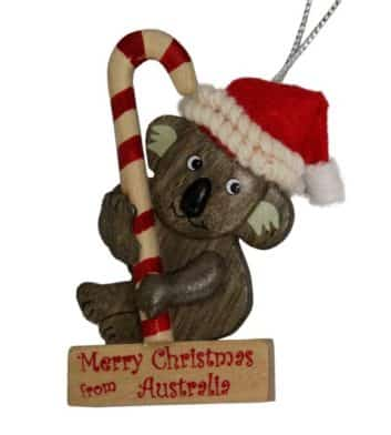 Koala Candy Cane Christmas Ornament
