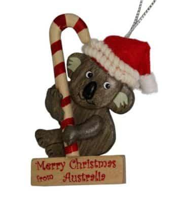 Koala Candy Cane Christmas Ornament