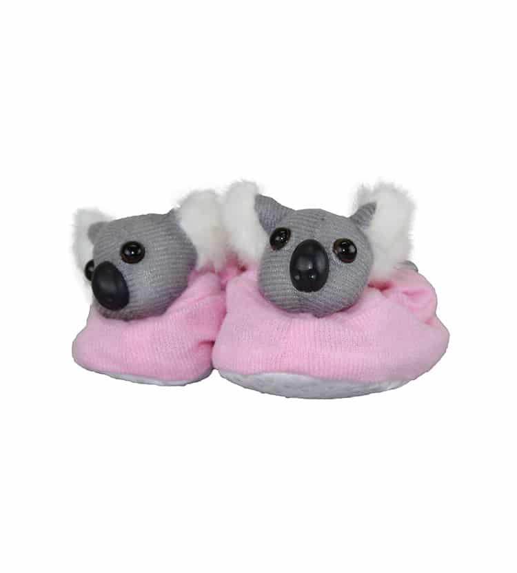 Pink koala baby booties