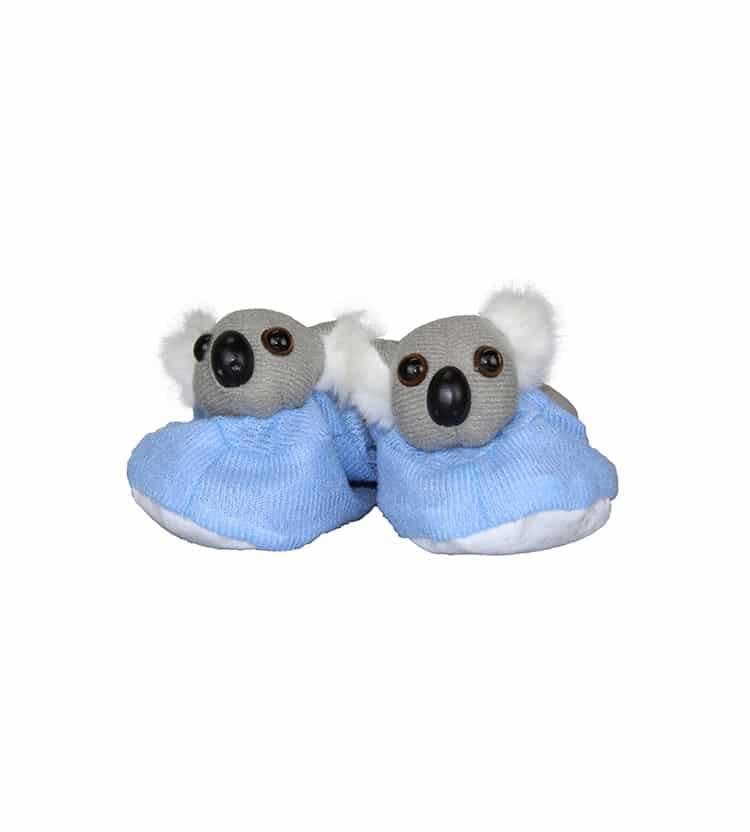 Blue koala baby booties