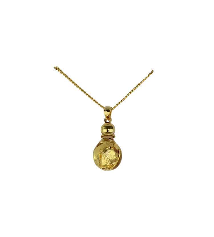 Bulb shaped gold pendant necklace