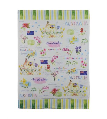 Australia Down Under Tea Towel