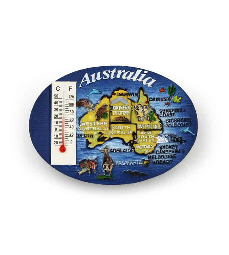 Australia Map Thermometer Magnet