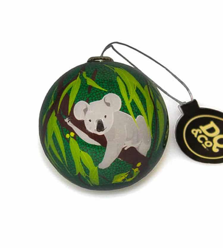 Green Koala Christmas Bauble