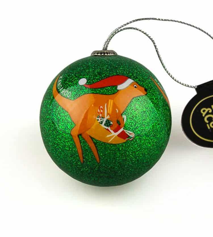Green Kangaroo Christmas Bauble