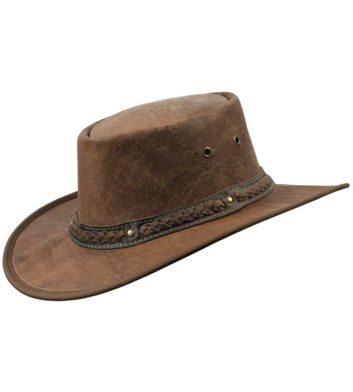 Crackle Kangaroo Leather Hat