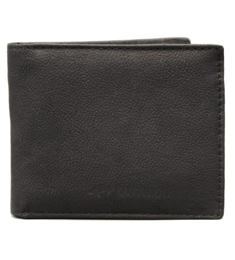 Kangaroo Leather Black Two Fold Wallet