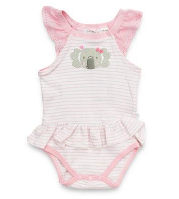 Koala Love Pink Stripe Baby Romper