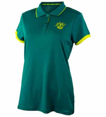 Womens Green & Gold Tech Polo Shirt