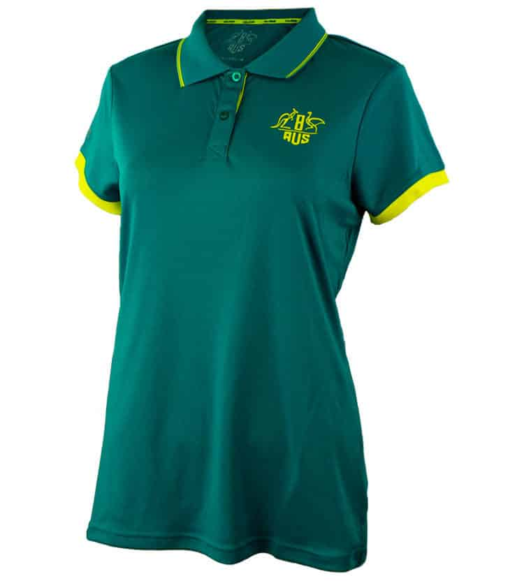 Womens Green & Gold Tech Polo Shirt