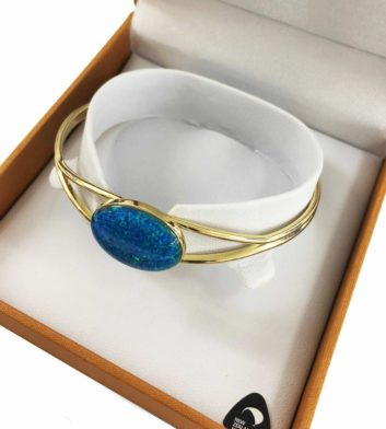 Blue Opal Gold Bangle