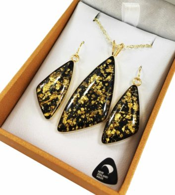 Gold Flake Pendant & Earrings