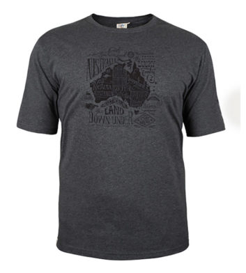 Australia Map T-Shirt Grey