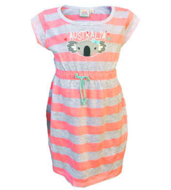 Koala Peach Stripe Kids Dress