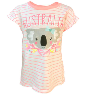 Floral Koala Stripe Kids T-Shirt