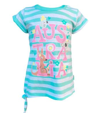 Australia Aqua Stripe Kids T-Shirt