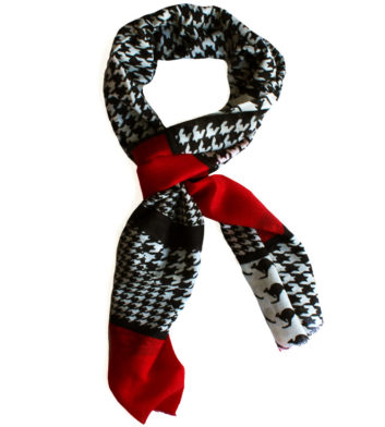 Merino Wool Scarf Black Red
