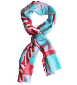 Merino Wool Scarf Blue Pink