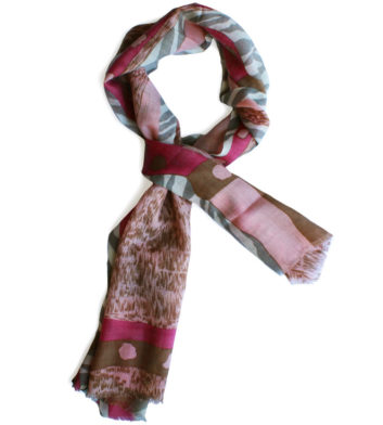 Merino Wool Scarf Pink Brown