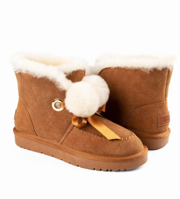 Ugg Megan Pom Lace Boot Chesnut