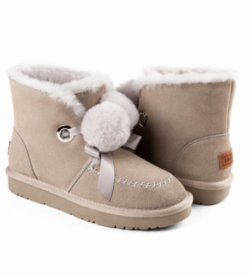 Ugg Megan Pom Lace Boot Grey