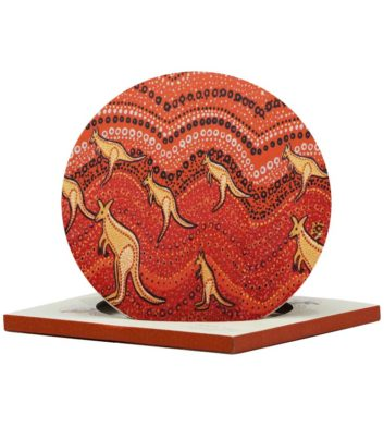Kangaroo Sunset Ceramic Trivet