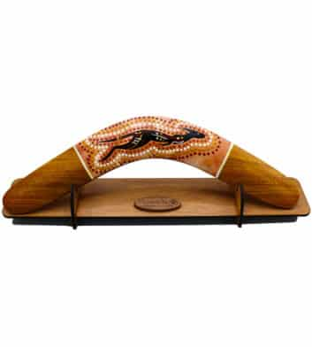 Dot Art Boomerang With Stand Brown