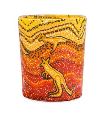 Kangaroos Glass Tea Light Holder