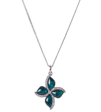 Palladium Four Petal Flower Necklace