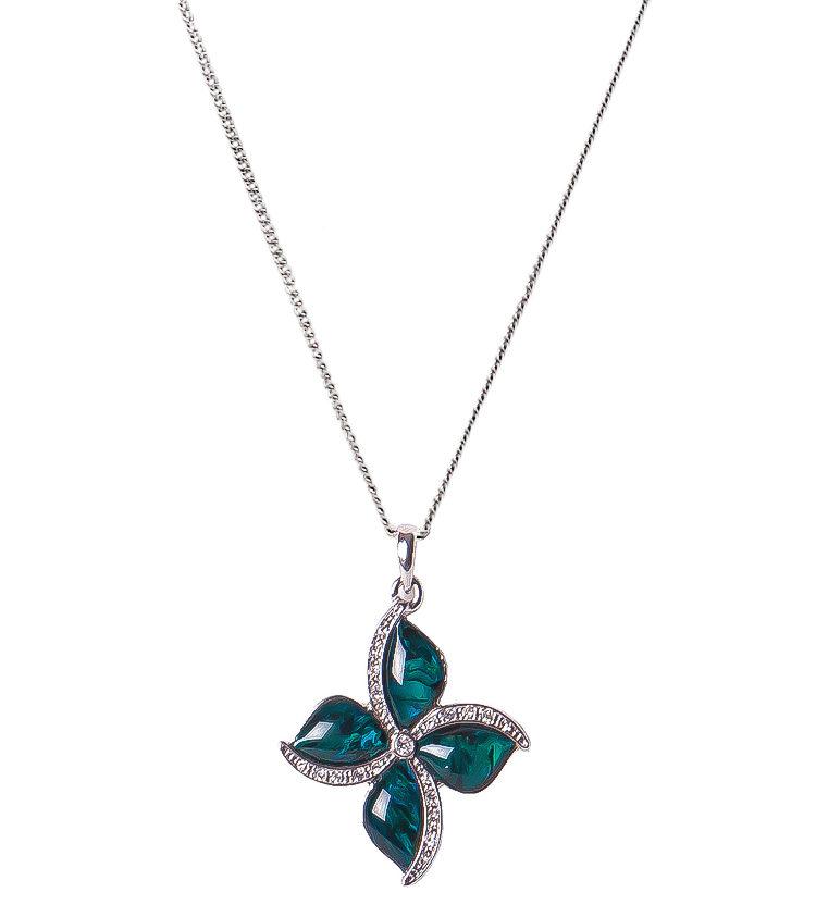 Palladium Four Petal Flower Necklace