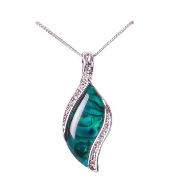 Paua Shell Crystal Leaf Necklace