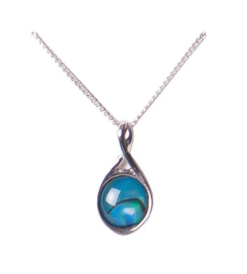 Palladium Paua Shell Twist Necklace