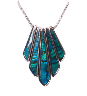 Palladium Paua Shell 5 Rod Necklace
