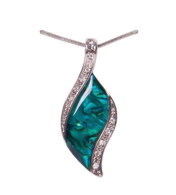 Paua Shell Crystal Sided Leaf Necklace